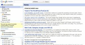 Example of a Google Reader RSS feed page